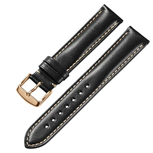 iStrap 19mm Genuine Calfskin Leather Watch Band Padded Strap RG Spring Bar Buckle Super Soft - Black (Watch Calfskin Band)
