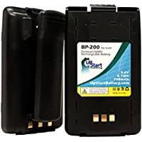 2x Pack - Icom BP-200L Battery with Clip - Replacement Icom Two-Way Radio Battery (700mAh, 9.6V, NI-MH)