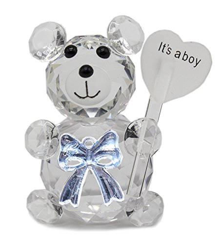 StylesILove Clear Crystal Teddy Bear Bowknot Figurine Party Decor (It's a boy-Blue)