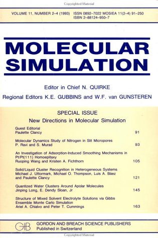 New Directions In Molecular Simulation: A Special Issue Of The Journal Molecular Simulation VAN GUNSTEREN