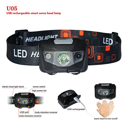 U05 LED headlamp flashlight for outdoor,USB Rechargeable,smart sense,160 lumens 3 modes waterproof,nice outdoor light for Running, Walking, Camping, Reading, Hiking, Kids - Nice 3 Light