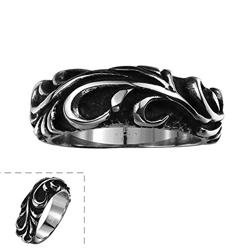Lureme Punk Retro Ancient Maya Biker Gothic Chrome Hearts Style Stainless Steel Silver Black Band Ring for Men and Women(04001159-parent) (9) (Chrome Hearts Ring Women)