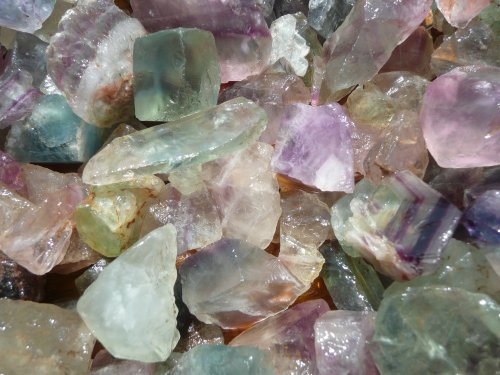 Fantasia Materials: 1 lb Rainbow Fluorite Rough - (Select 1 to 18 lbs) - Raw Natural Crystals for Cabbing, Cutting, Lapidary, Tumbling, Polishing, Wire Wrapping, Wicca and Reiki Crystal Healing - Topaz Rock Crystal
