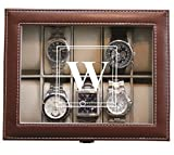 Customized Brown Watch Storage Box with Initial - Groomsman Wedding Father's Day Gift - Personalized Engraved and Monogrammed for Free