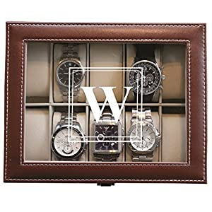 Customized Watch Storage Box with Initial – Groomsman Wedding Father's Day Gift – Personalized Engraved Monogrammed Free