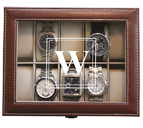 Customized Brown Watch Storage Box with Initial – Groomsman Wedding Father's Day Gift – Personalized Engraved and Monogrammed for Free