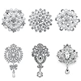 WeimanJewelry Gold Plated 24pcs Crystal Rhinestones Brooch Pins for DIY Wedding Bouquets Kit (Silver 6pcs)
