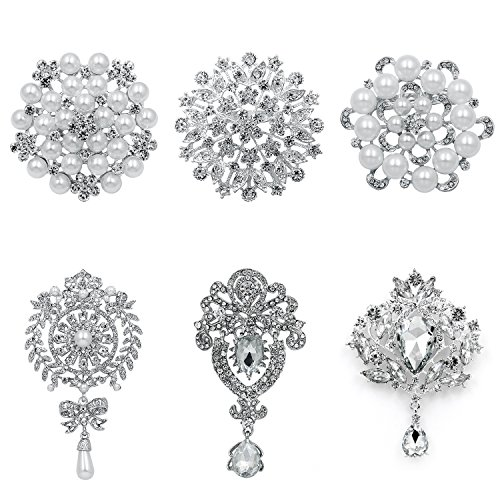 (WeimanJewelry White Gold Plated Assorted Crystal Rhinestones Brooch Pins for DIY Wedding Bouquets Kit (Silver Large 6pcs))