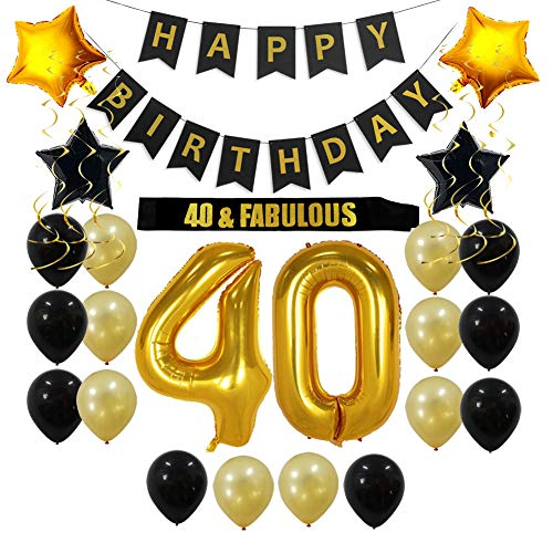 40th Birthday Decorations Party Supplies Gift for Men/Women - 40 Birthday Sash, Happy Birthday Banner, 40 Gold Number Balloons, Sparkling Hanging Swirls, Black and Gold Balloons