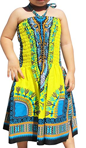 Raan Pah Muang Brand Dress Halter Dashiki Colors African Child Smock Chest Strap, 1-3 Years, Yellow