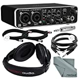 Behringer U-Phoria UMC202HD Audiophile 2x2 USB Audio Interface and Accessory Bundle w/ Headphones + Adapter + Cables + Fibertique Cloth