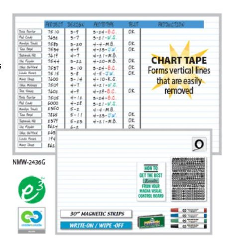 Magna Visual NMW-1824G 18in. x 24in. Changeable Board Planner Kits - 1in. Horizontal Grid by Magna Visual