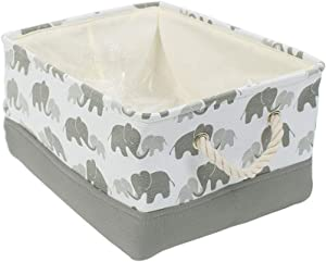 "uxcell Storage Bins with Rope Handles, Collapsible Laundry Basket for Toy Clothes Towel Organizer, Fabric Decorative Baskets (Medium - 14.2"" x 10.2"" x 6.7""), Grey Elephant"