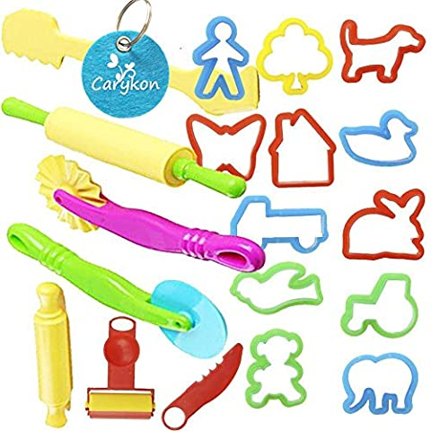 Carykon Smart Dough Tools Kit with Models and Molds, Set of 20 PCS, Trees and Animals (Playdoh People)