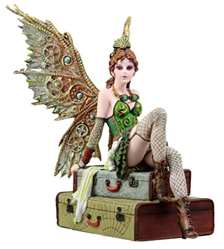 Ky & Co YK Steampunk Aviator Fairy Sitting On Suitcases Figurine 9
