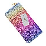 Ombre Bling Glitter Wallet Womens RFID Blocking Leather Purse Handbag Party Clutch Card Organizer for Women Purse (RAINBOW)