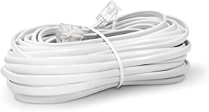 THE CIMPLE CO Phone Line Cord 25 Feet - Modular Telephone Extension Cord 25 Feet - 2 Conductor (2 pin, 1 line) Cable - Works Great with FAX, AIO, and Other Machines - White