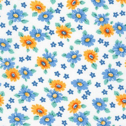 Morningside Cottage (Morningside Farm~Blue Yellow Flowers~Cotton Fabric by Kaufman)