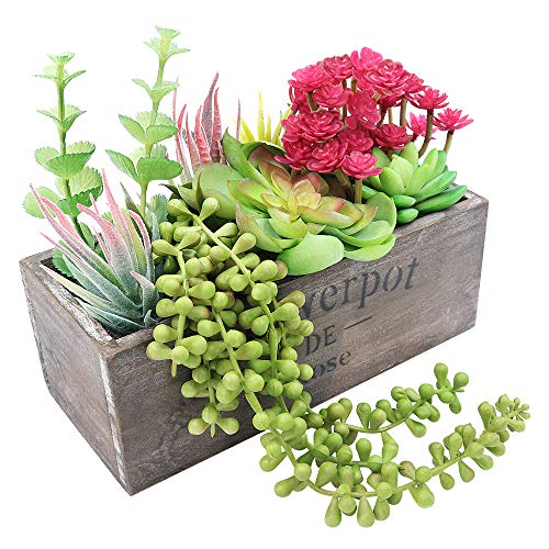 XiaZ Fake Succulent Potted Plants, Artificial Pre-Made Succulent Wooden Planter Box Arrangement Assorted Faux Aloe Pearls Plant in Rectangular Wood - Potted Arrangements Plant