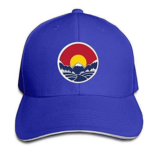 SNMHILL Men Women Mountain Sunset Colorado Flag Fashion Peaked Sandwich Hat Sports Adjustable Baseball Cap Unisex