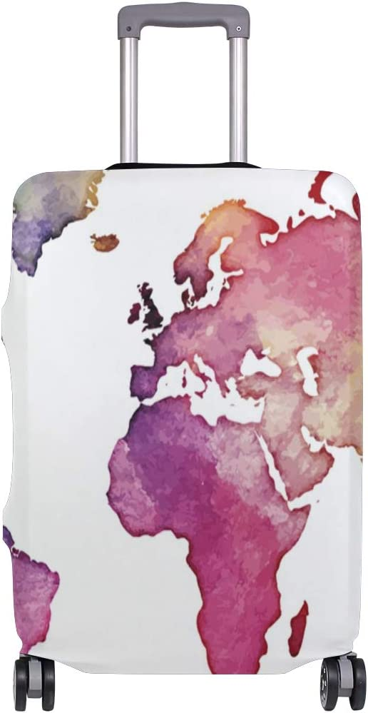 LEISISI Watercolor World Map Luggage Cover Elastic Protector Fits XL 29-32 in Suitcase