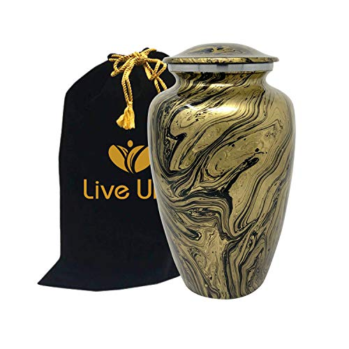 Liveurns Majestic Swirl Metal Cremation Urn – Adult Urn – Solid Metal Funeral Urn – Handcrafted Adult Funeral Urn for Ashes – Great Urn Deal – Free Bag Included Gold Swirl