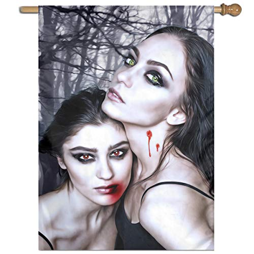 MINIOZE Halloween Vampire Fantasy Girl Blood Gothic Goth Themed Welcome Extra Big Large Jumbo for Outdoor Outside Decorations Ornament Picks Garden Yard Traditional Decorative Front -