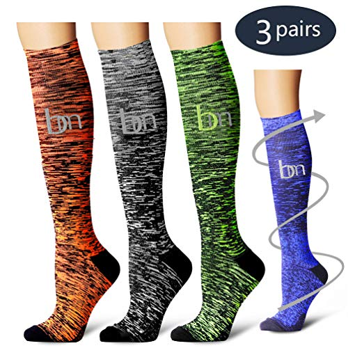 (Compression Socks,(3 Pairs) Compression Sock Women & Men - Best Running, Athletic Sports, Crossfit, Flight Travel (Multti-colors23, Large/X-Large))