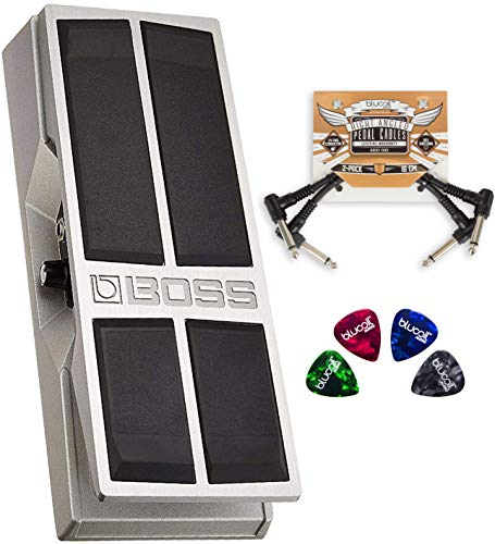 BOSS FV-500L Stereo Volume Pedal - Low Impedance Bundle with 2-Pack of Pedal Patch Cables, and 4-Pack of Celluloid Guitar Picks (Boss Fv 500h Volume Pedal High Impedance)