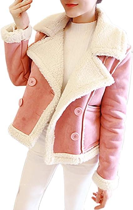 PXiong Women Winter Fleece Cotton Hooded Jacket Zip Pocket Short Warm Biker Coat