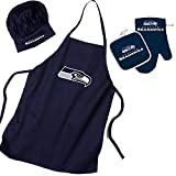 Pro Specialties Group Seattle Seahawks Nfl Barbeque Apron, Chef's Hat And Pot Holder Deluxe Set