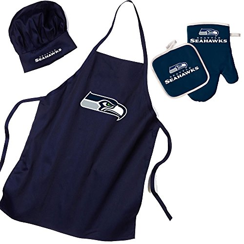Pro Specialties Group Seattle Seahawks Nfl Barbeque Apron, Chef's Hat And Pot Holder Deluxe (Deluxe Chef Hat)