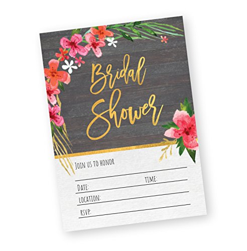Bridal Shower Fill-in Invitations with Envelopes - Floral Tropical Wedding Theme 5x7-30 (Tropical Theme Invitations)