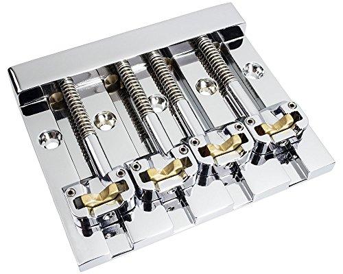 Hipshot KickAss High-mass Bass Bridge for 5-bolt Fender, Chrome -  amplified_parts