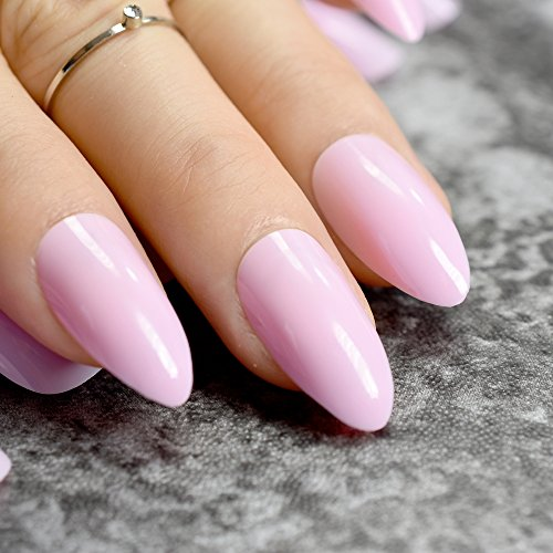 - Matte Soft Pink Stiletto Fake Nails Almond Pointed Press On Oval Frosted Full Cover False Nail Art Tips pink