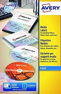 Avery España L7676-25 - Pack de 25 etiquetas para CD, 2 etiquetas por folio, diámetro 117 mm, color blanco