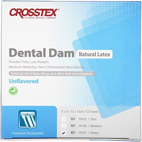 Crosstex 19301 Dental Dam, Latex, Unflavored, Heavy Gauge, 6