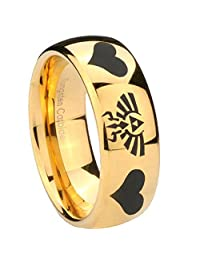 14K Gold Plated Tungsten with Dome Edge Legend of Zelda and Heart PolishedTwo Tone Laser Engraved Ring