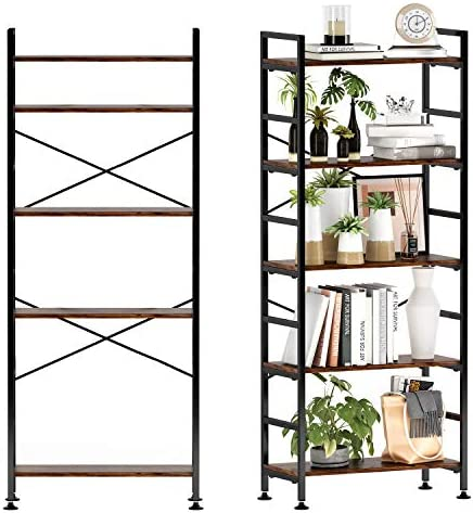 5-Tier Adjustable Tall Bookcase
