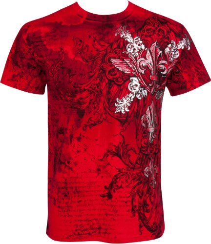 TG327T Vines and Fleur De Lis Metallic Silver Embossed Short Sleeve Crew Neck Cotton Mens Fashion T-Shirt - Red/Small