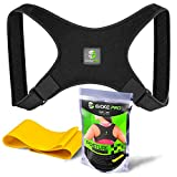 Posture Corrector and Resistance Band Set for Women and Men by Evoke Pro - Trains your back muscles to prevent slouching and provides clavicle support everywhere you go (Regular)