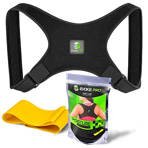 Posture Corrector And Resistance Band Set For Women And Men By Evoke Pro   Trains Your Back Muscles To Prevent Slouching And Provides Clavicle Support Everywhere You Go  Regular