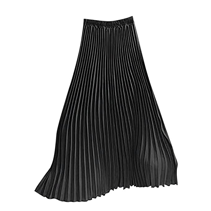 Womens Ladies Black Flare Pleated Faux Leather Midi Skirt Evening Wear UK 8-12