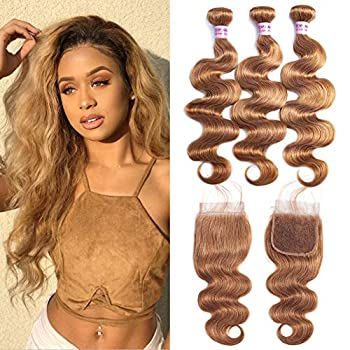 Image of Health and Household Valentines Day Gifts Aigemei Peruvian Virgin Human Hair Honey Blonde Bundles with Closure 8A Body Wave Human Hair Weaves with Closure Blonde Extensions(18'20'22'+18'Closure,Color 27)