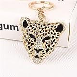 1 Pack Leopard Head Crystal Keyrings Pendants Women Ball Puff Fur Rabbit Key Chains Optimum Popular Pocket Teenagers Bag Car Keychain