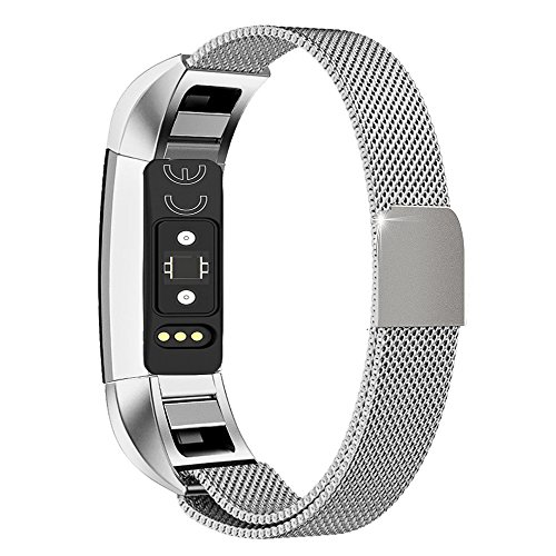 Wearlizer Milanese Loop Bands Replacement Metal Stainless Steel Strap Sport Wristband for Fitbit Alta - Silver