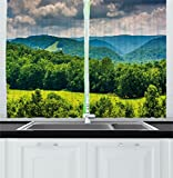 Ambesonne Landscape Kitchen Curtains, View of Mountains in Potomac Highlands of West Virginia Rural Scenery Picture, Window Drapes 2 Panels Set for Kitchen Cafe, 55 W X 39 L Inches, Forest Green For Sale