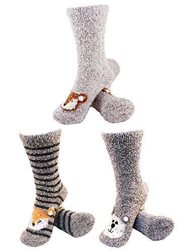 Super Soft Warm Cute Animal Non-Slip Fuzzy Crew Winter Home Socks - Assortment 11-3 Pairs - Value Pack