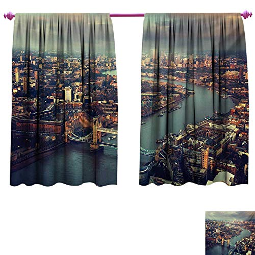 London Decorative Curtains for Living Room Panoramic Picture of Thames River and Tower Bridge Famous Cityscape Patterned Drape for Glass Door W55 x L72 Orange Beige Almond Green ()
