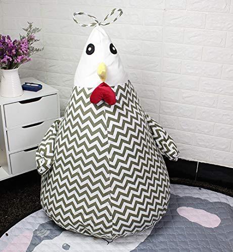 Lmeison Stuffed Animal Storage Bean Bag, Extra Large Canvas Plush Toy Organizer, Towel Blanket Pillow Bean Bag Cover(29.5